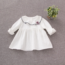 2017 Cotton Infant White Long Sleeve O Neck Flower Kids Party Baby Dress Girls Princess Birthday Tutu Dresses vestidos