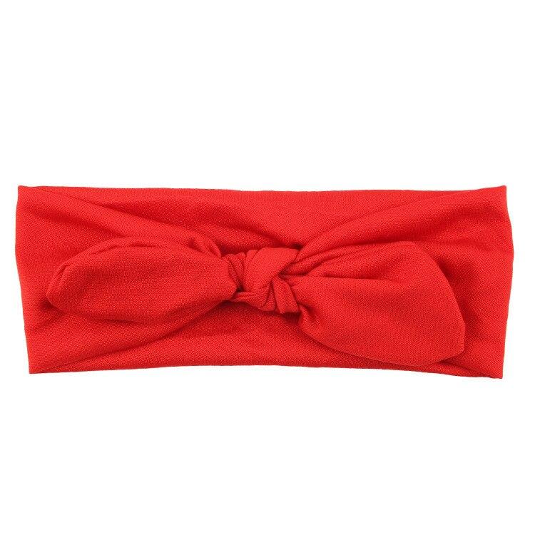 Новинка; Детская повязка на голову; Детские аксессуары для волос; Летние однотонные повязки на голову для маленьких девочек; повязка на голову с бантиком и ушками кролика - Цвет: Красный
