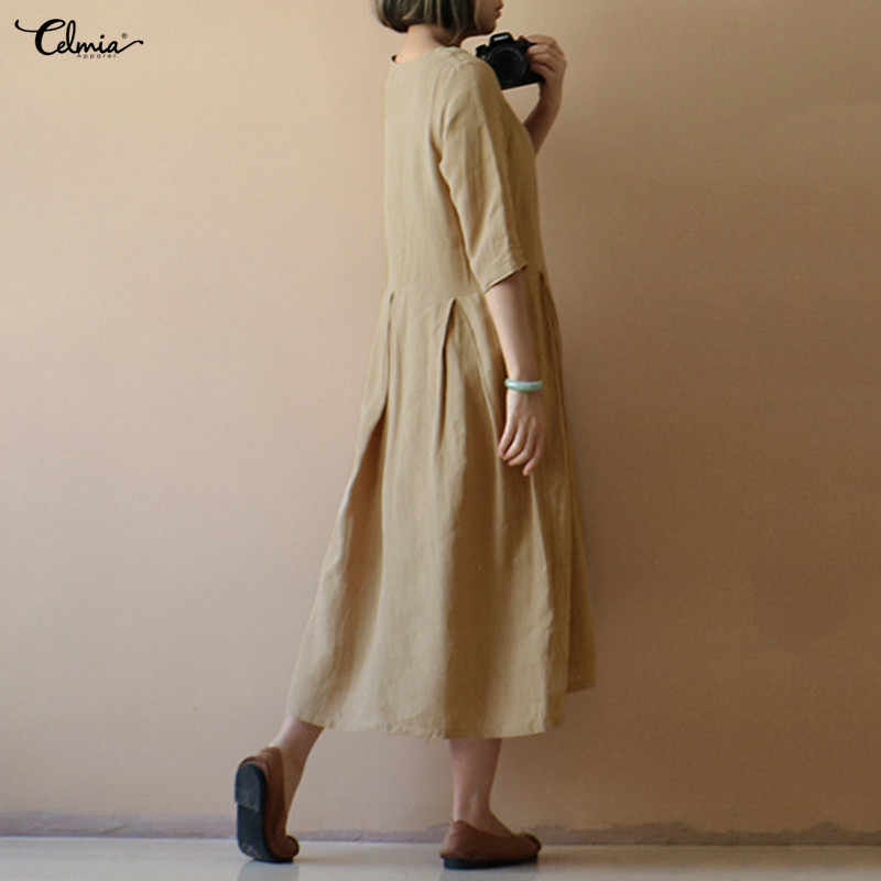 0e359aec2c ... Celmia Women Vintage Linen Pleated Dress Summer Half Sleeve Solid  Casual Party Long Maxi Dresses Oversized ...