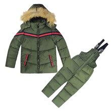 Los Niños Ropa de invierno Niños Niñas Invierno Abajo Ropa de Abrigo Niños  Chaqueta de Abrigo de Niño Traje Para La Nieve ropa d. ae1dc4c5d4ae0