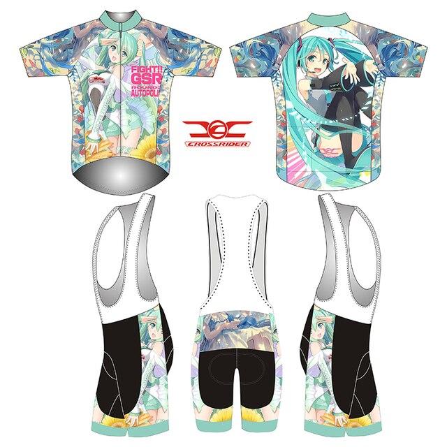 Crossrider brand 2019 Hatsune Miku cosplay costume racing gear short sleeve  cycling jersey set men mtb bicycle clothing kit gel ffad8e4f9