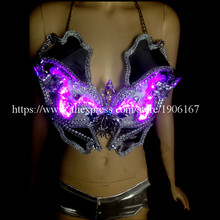 Hot Sale Led Luminous Sexy Lady Crystal Bra Led Light Growing DS Women Stage Clothes Dance Costume Evening Party Dress