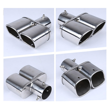 Dewtreetali Car Auto Round Exhaust Muffler Tip Stainless Steel Exhause 1 to 2 Dual Pipe