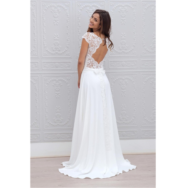 Us 184 0 2015 Charming Lace Long Beach Wedding Dresses White And Ivory Brautkleid Backless Bridal Gowns Vestidos De Noivas Custom Made In Wedding