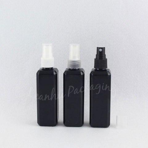 100 ml preto garrafa de plastico quadrado