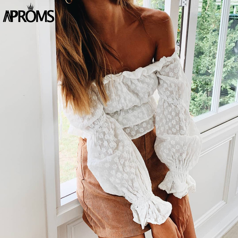 Aproms Sweet Ruffle Long Sleeve White Blouse Shirt Women Elegant Off Shoulder Floral Embroidery Chiffon Crop Top Feamle Tee 2019