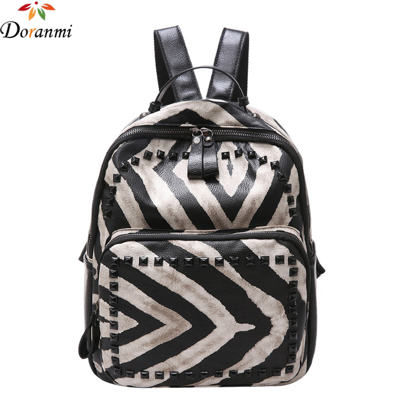 DORANMI Classic Schoolbag Women Fashion Rivet Luxury Brand Designed Striped School Bag Shaped Larged Capacity Backpack