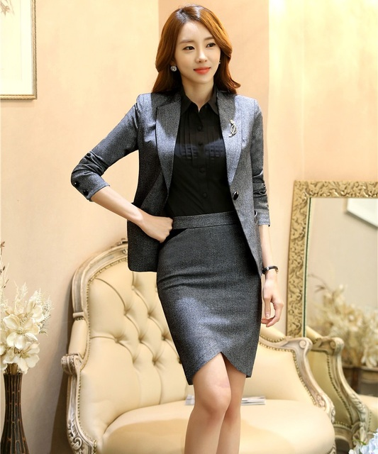 Novelty Gray Spring Autumn Professional Business Suits With Jackets And Skirt Slim Fashion Ladies Blazers Outfits Uniforms
