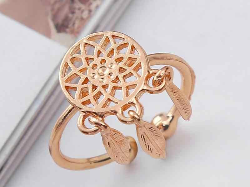 แฟชั่นโบฮีเมียสัญชาติอินเดีย Feather Dreamcatcher แหวน Feather Charm จี้ Dream Catcher วงแหวน