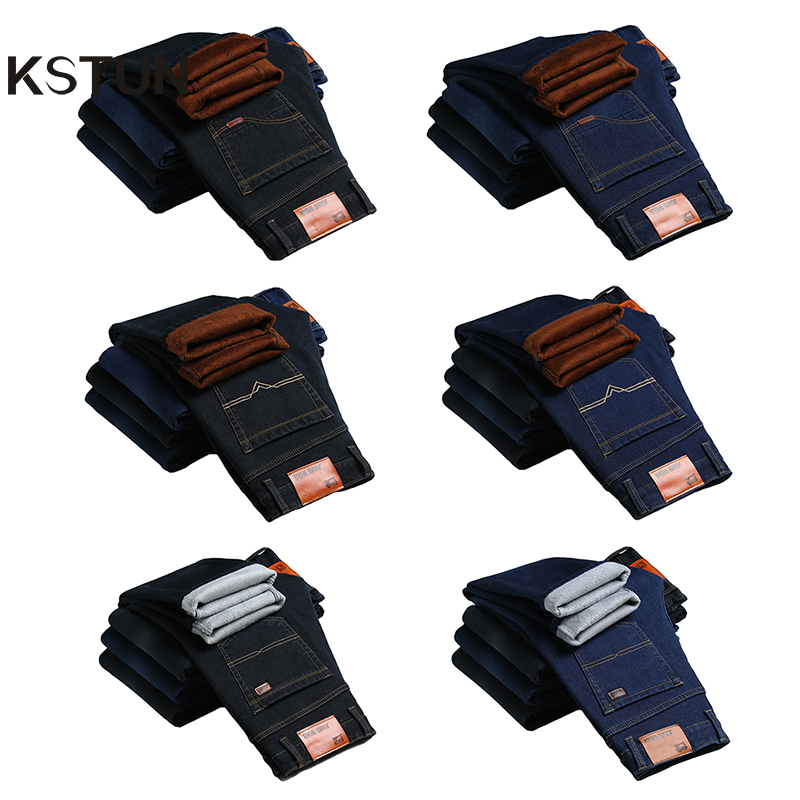KSTUN Jeans Men Winter Warm Jeans Thicken Slim Straight Stretch Black Blue Stretch Business Casual Mens Trousers Dropshipping