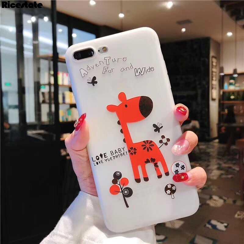 Ricestateสัตว์น่ารักสำหรับX XR XS MAX 3Dกวางน่ารักซิลิโคนนุ่มสำหรับiPhone X 6 6S 7 8 Plus TPU Cover