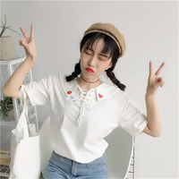 new 2017 summer love embroidery sailor collar t shirt women lovely T-shirt Good quality comfortable casual short-sleeve tops
