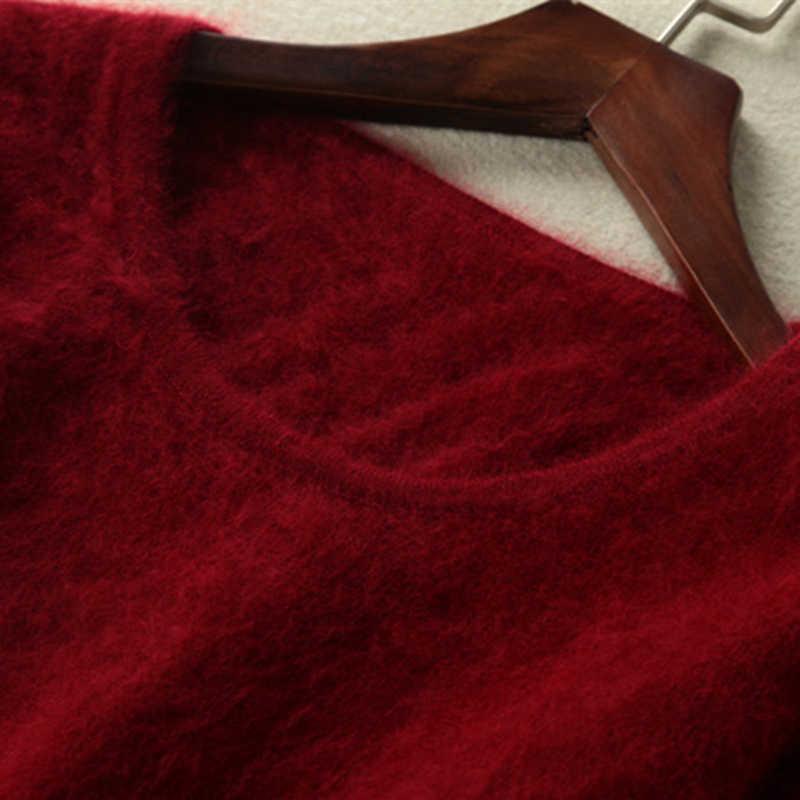 2020 가을 겨울 여성 스웨터 100% 밍크 캐시미어 스웨터와 풀오버 소프트 웜 탑 여성 오크 롱 슬리브 기본 점퍼