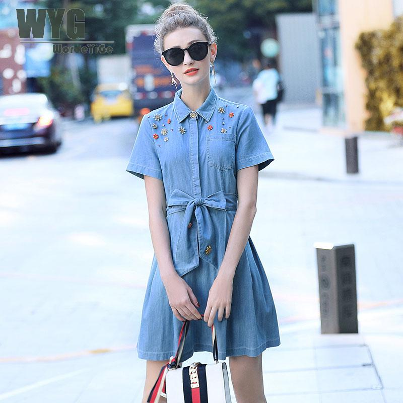 WYG Crystals Beading Jeans Dress Women 2018 Summer Casual Fashion Self Bow Tie Turn Down Collar Short Sleeve Denim Mini Dress