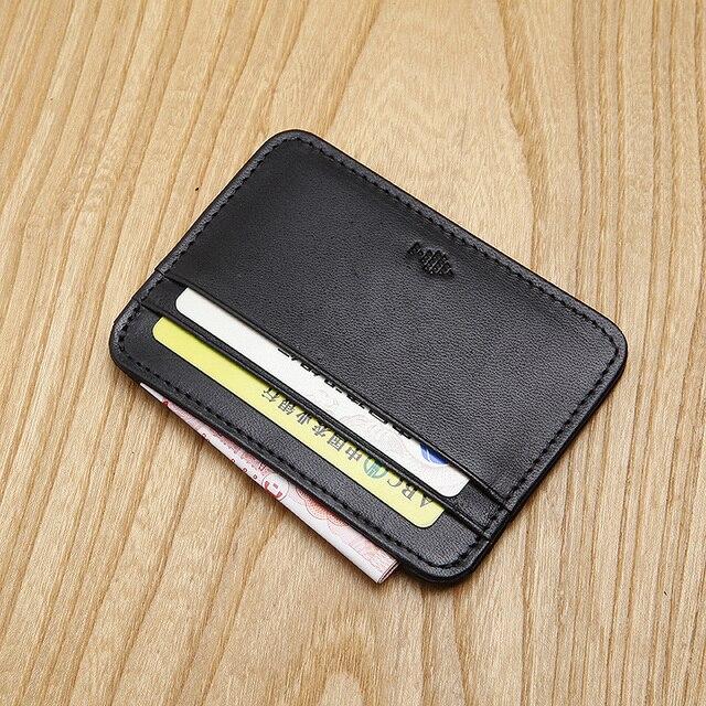 Bolso de la tarjeta de cuero de los hombres ultra-delgado de alto grado de la tarjeta de visita de cuero titular de la tarjeta de acceso de conjuntos de documentos BB060