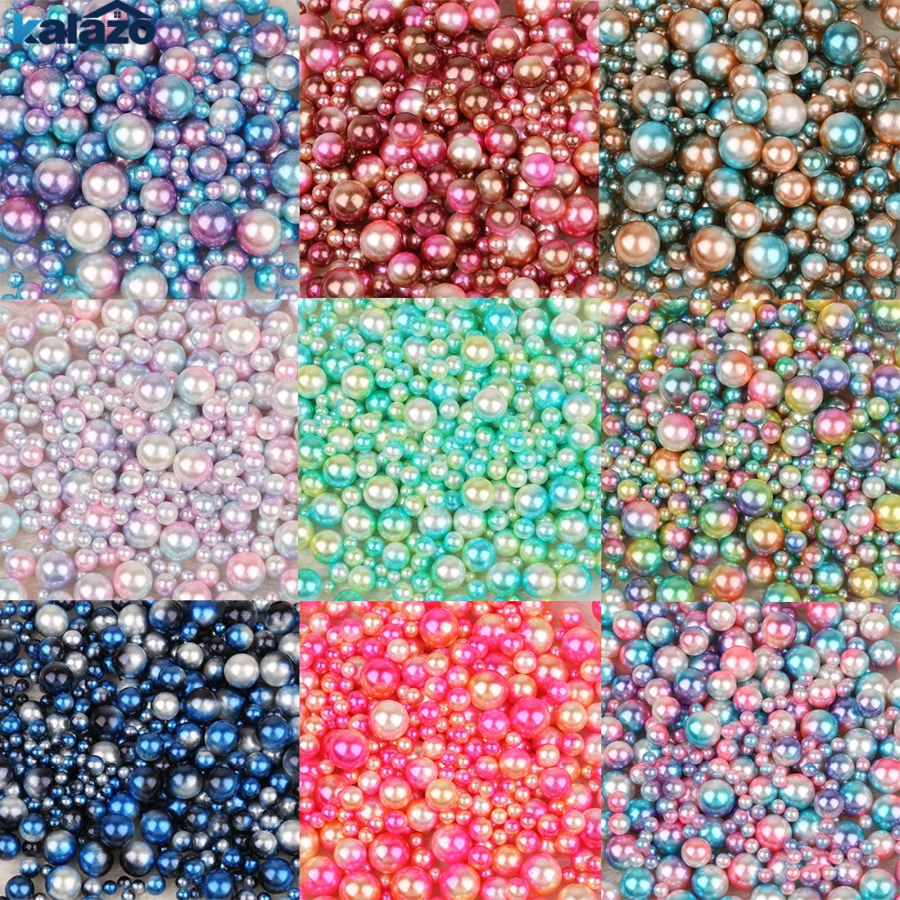 250PCS 4/6/8/10mm Size Diy No Holes Pearls Round Beads DIY Craft Scrapbook Supplies Home Birthday Party Decorations