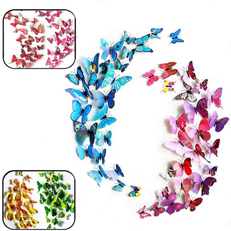 3D Magnet Artificial Butterfly Pattern Wall Stickers Home Decor Decorative Art Decals Living Room Furniture Sticker Decoration