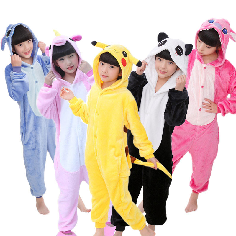 Onesie Kids Unicorn Kigurumi Pajamas Panda Licorne Stitch Pijama Boys Girls Animals Flannel Pajama Cosplay Hooded Sleepers 3-13Y