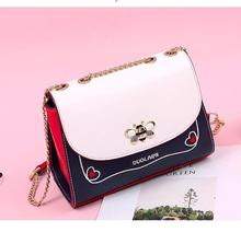 Angelatracy 2019 New Arrival Bee Insects Embroidery Heart Chain Metal PU Quality Panelled Women Bag Shoulder Crossbody Handbags