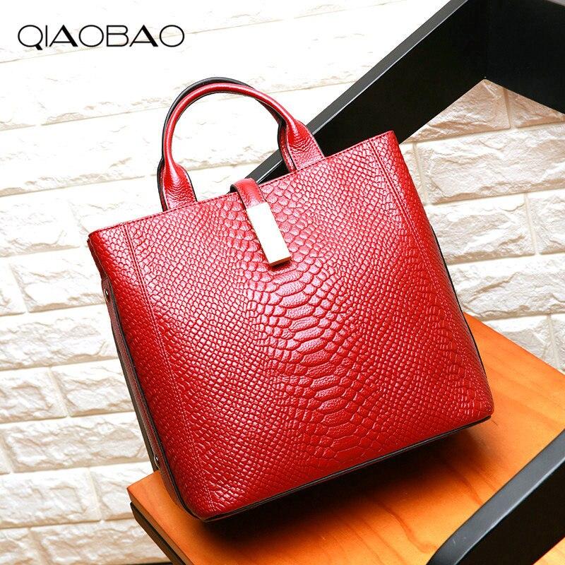 QIAOBAO Women Bags 2018 Fashion Alligator Women Handbags High Quality Real Leather Women Shoulder Bags Luxury Casual Ladies Tote