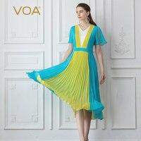 Voa шёлковый жоржет Сладкий Kawaii Для женщин платья Роскошные элегантное платье со складками v образным вырезом голубой желтый летнее лоскутно