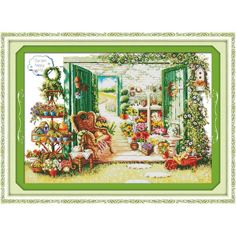 Everlasting love Flower shop Chinese cross stitch kits Ecological cotton printed 11 14CT DIY New year Christmas decorations gift