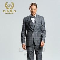 DARO 2018 New Men Suit 3 Pieces Fashion Plaid Suit Slim Fit blue grey brown Wedding Dress Suits Blazer Pant and Vest DRV8188