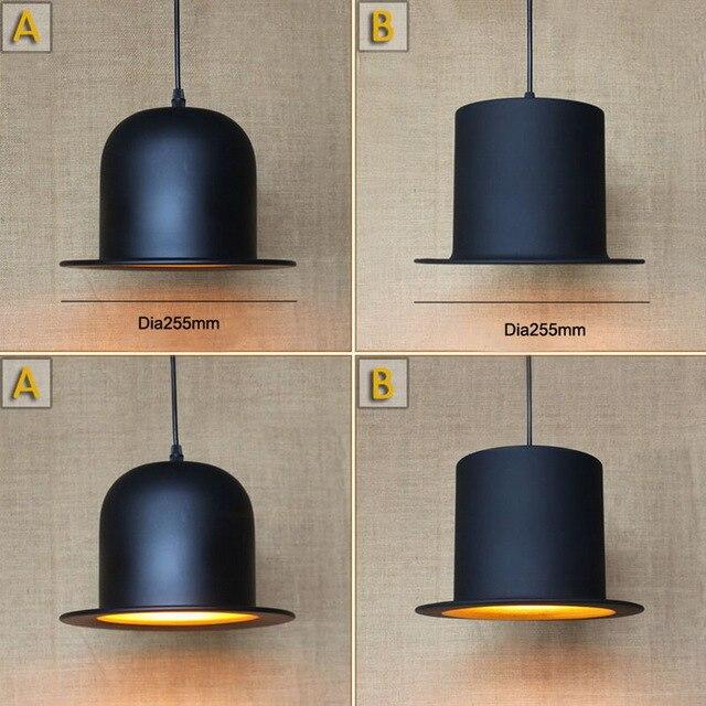 Chapéu preto antigo pingente lâmpada Para Luzes Da Cozinha Sala de Estar/sala de jantar/Edison Simples tampa de metal capa sombra Pingente luz Dispositivo Elétrico