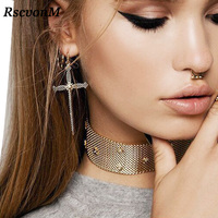 RscvonM Vintage Boho Silver Gold  Color Cross Drop Earrings for Women Baroque Bohemian Large Long Earrings Jewelry Brincos 2018