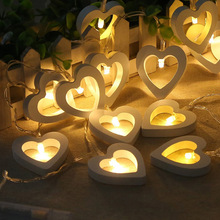 1M 10leds Creative Wooden Heart LED String Lights Jul Valentinsdag Fairy Light Have Fødselsdag Event Party Decor Lights