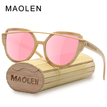 MAOLEN Cat Eye Wood Sunglasses women Bamboo frame Glasses Polarized Lenses Sunglass UV400 Protective Shades New Design Eyewear