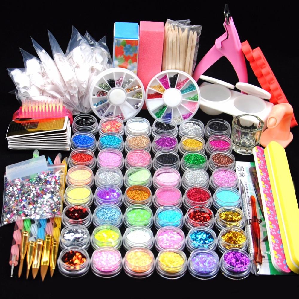 COSCELIA Pro Set For Manicure 48pcs Nail Glitter Powder Acrylic Liquid Clipper Nail Art Sets French Nail Tips Tools For Manicure