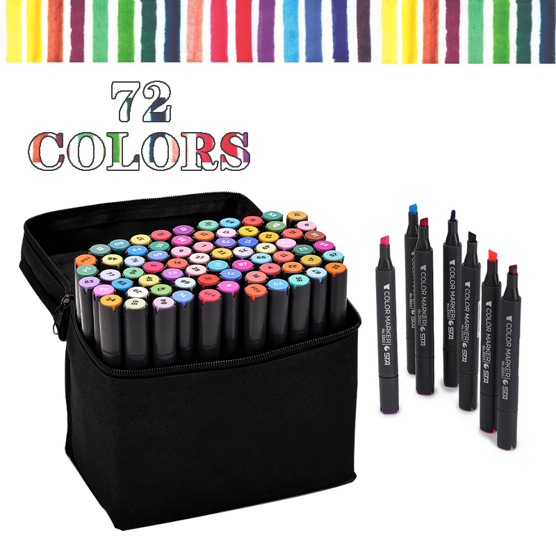 STA Free Shipping from RU Alcohol Based Ink 72 Color set Marker Set Double Headed Marker Pen Animation Paint Sketch Art Marker sta 128 colors double headed sketch alcohol drawing marker pen 24 36 48 60 72 set animation common paint sketch art marker