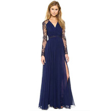 Women Sexy Long Maxi Dress Lace Floral Sheer V Neck Chiffon Evening Party Dresses Formal Prom Ball Gowns Vestidos Femininos1880