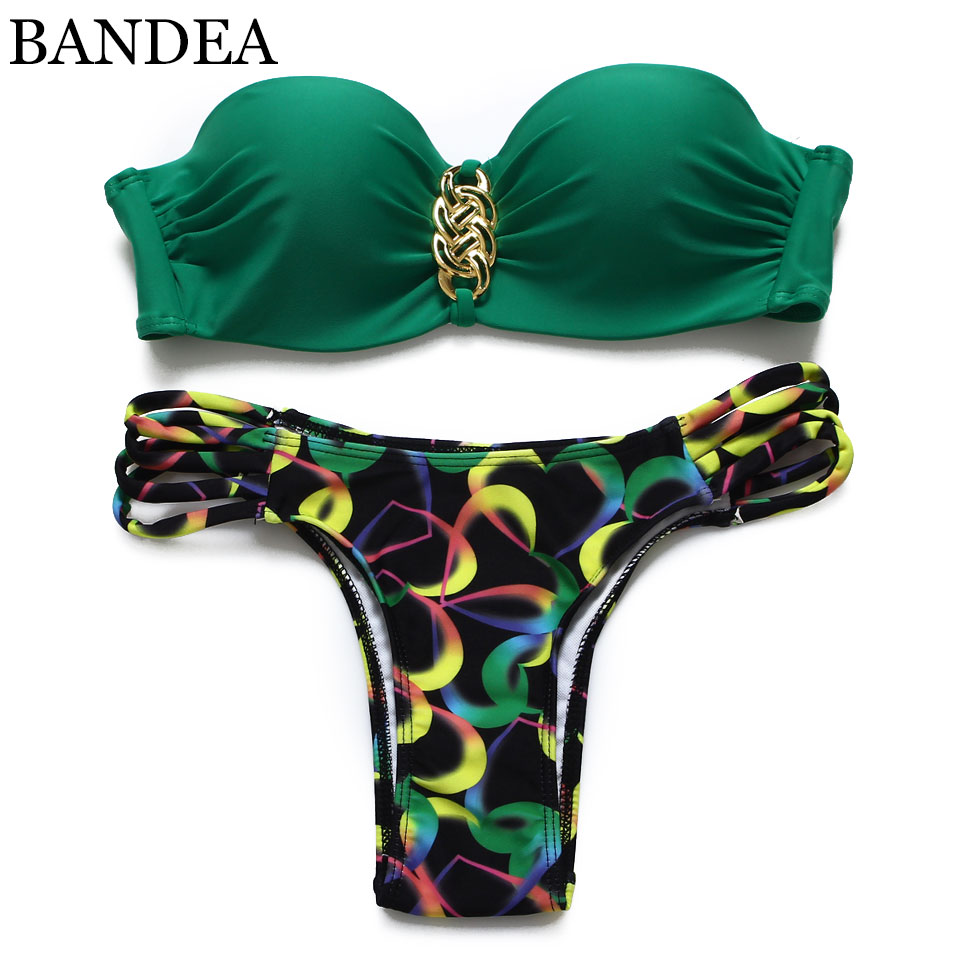bandea 2017 summer push up swimsuit beach bandeau women print swimwear bikini set brazilian. Black Bedroom Furniture Sets. Home Design Ideas