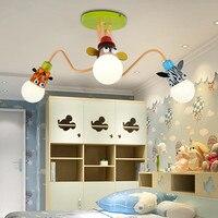 Современные оригинальные Мультяшные животные потолочный светильник для маленьких спальню мальчика Детская комната для девочек Детская ко
