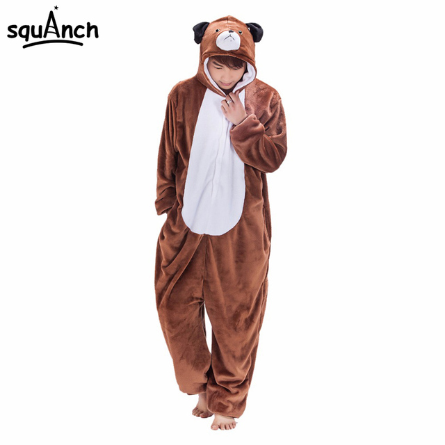 de7035ff0d Animal Dog Onesie Costume Adult Women Men Pajama Brown Cartoon Funny  Jumpsuit Flannel Thicker Warm Sleepwear Winter High Quality