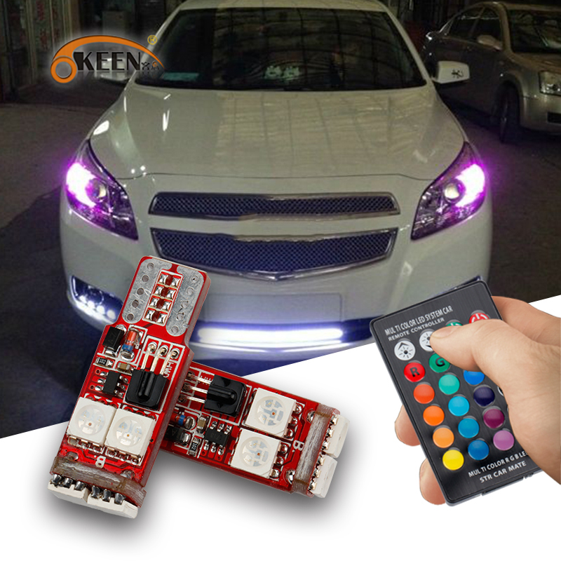 OKEEN 2pcs Canbus RGB T10 6smd 5050 Led Car Light W5w 194 Error Bulbs Wedge Lamp Clearance Light /led headlight remote control new t10 6 smd 5050 194 w5w 501 led car light colourful led canbus error interior light bulb remote control dc 12v