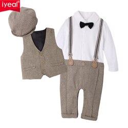 IYEAL más Nuevo 2018 recién nacido conjuntos de ropa de niño de algodón de calidad Caballero de Moda de Primavera pantalones + chaleco + sombrero otoño bebé ropa