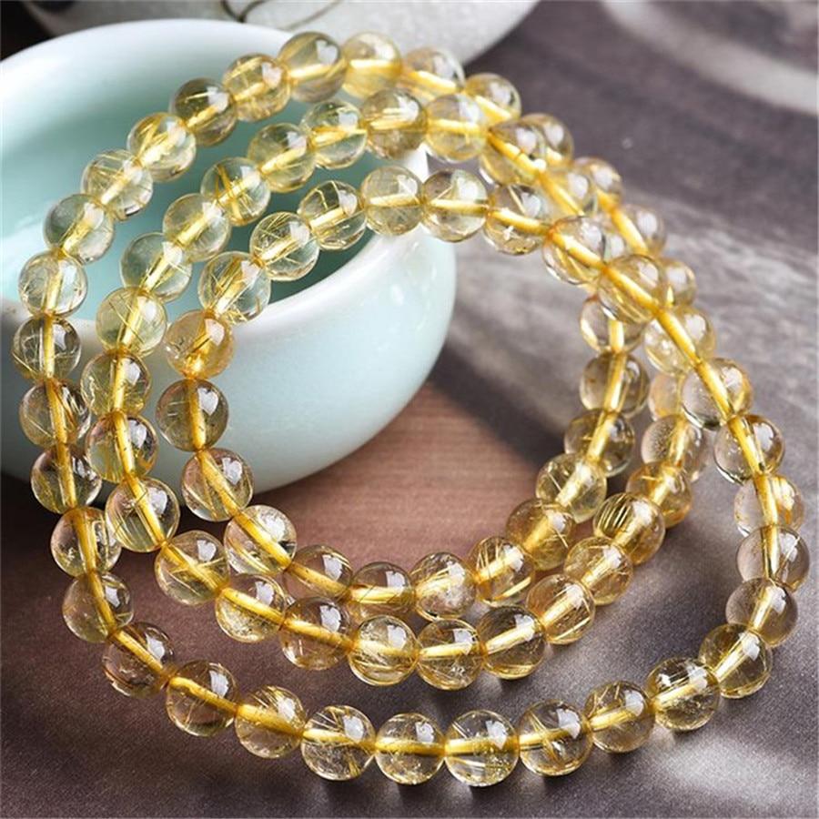 6MM Three laps Brazil Genuine Natural Yellow Gold Hair Rutilated Quartz Stone Round Crystal Bead Bracelet цены