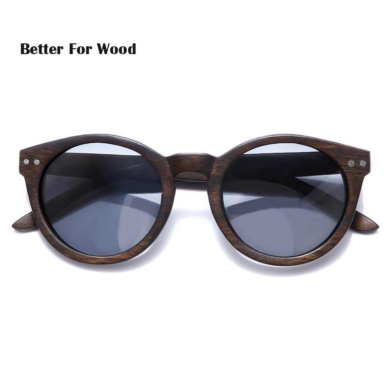2018 Dames Heren Cateye Houten Zonnebril Vintage ronde zonnebril - Kledingaccessoires - Foto 3