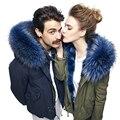 Совершенные пушистые воротники пальто темно-синий меховым воротником реального енота Шарф 100 см