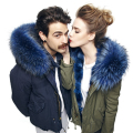 Perfect fluffy coat collars dark blue fur collar real raccoon Scarf 100cm