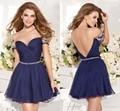 Venta caliente Linda Una Línea Corta Vestidos de Noche Atractivo Del Amor Fuera Del Hombro Sin Espalda Vestido de Fiesta Azul Real Vestido de Noche