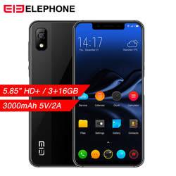 Elephone A4 мобильного телефона 5,85 дюйма Notch Экран Android 8,1 Dual SIM 4G смартфон 3 GB Оперативная память 16 Гб Встроенная память 3000 mAh лицо Fingerpringt ID