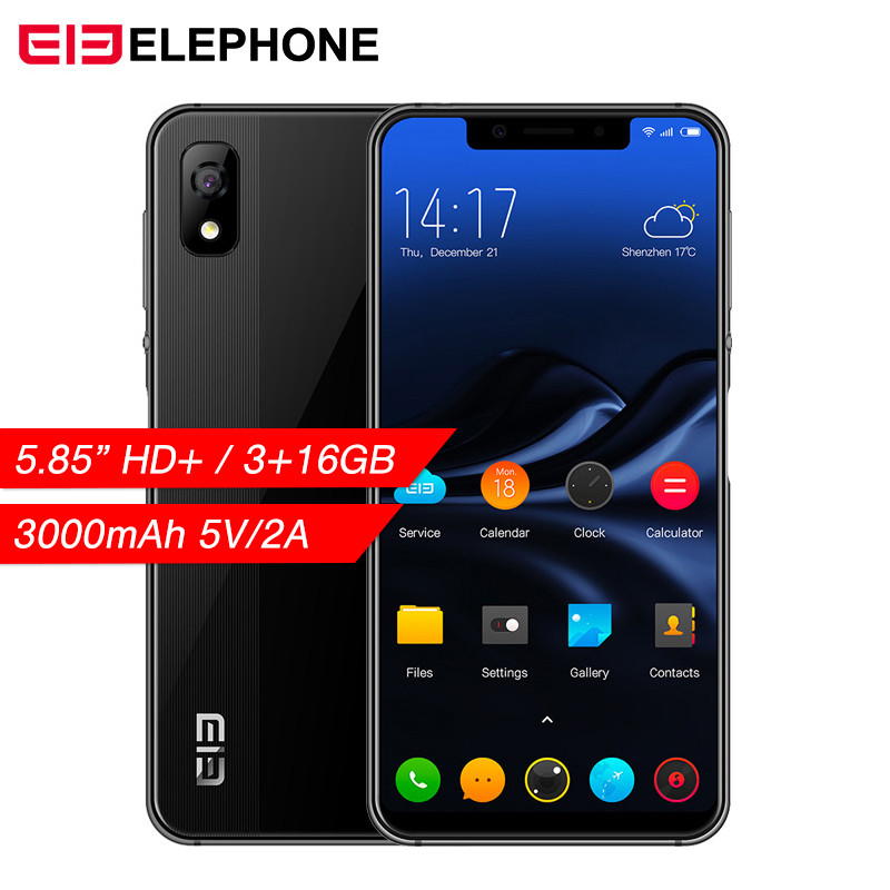 "Elephone A4 Mobile Phone 5.85"" 19:9 Notch Screen Android 8.1 Dual Sim 4G Smartphone 3GB RAM 16GB ROM Face Fingerpringt ID Unlock"