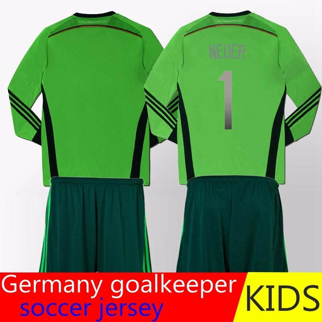 b0d3e87ab67 High priority  special love for kids--Manuel Neuer Germany kids jersey  green Germany goalkeeper soccer jersey with 4 stars