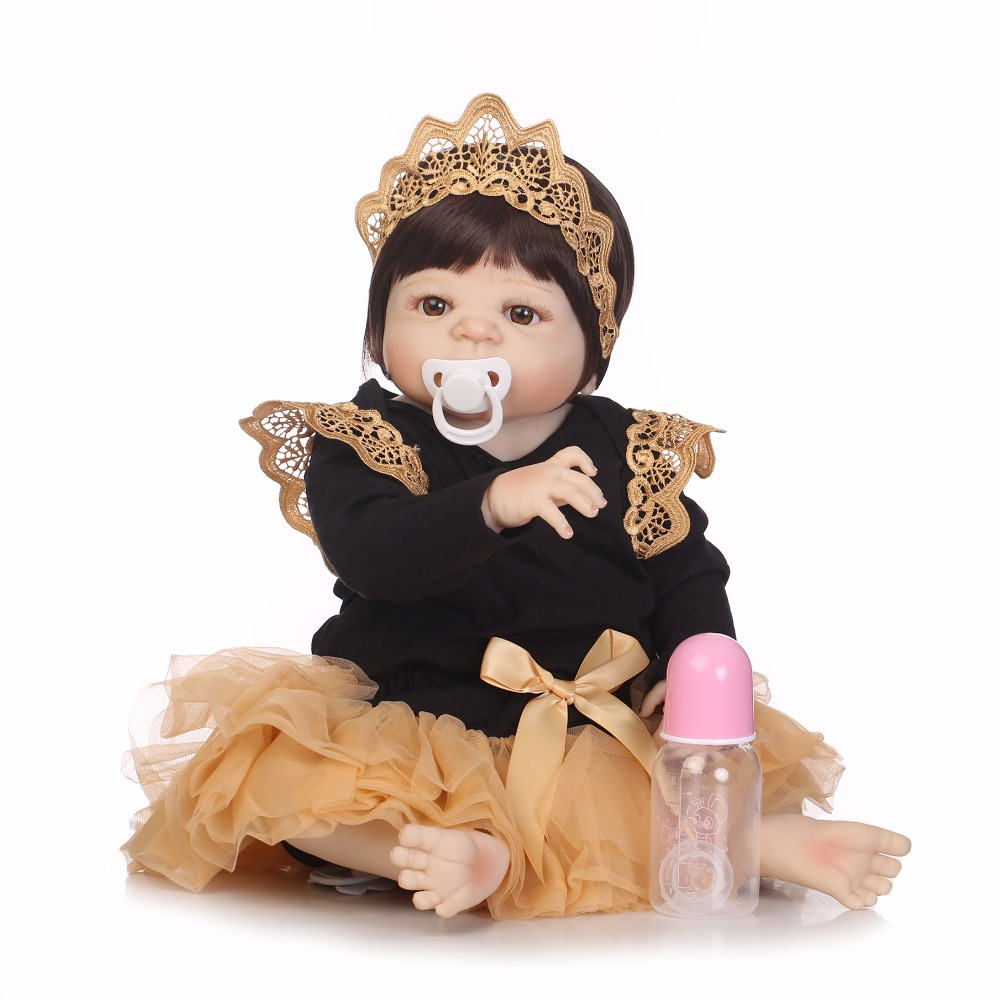 NPK 55 سنتيمتر الحقيقي كامل الجسم سيليكون فتاة تولد من جديد الطفل دمية لعبة الرضع الأميرة الدمى Bebes تولد من جديد Bonecas Brinquedos-في الدمى من الألعاب والهوايات على  مجموعة 2