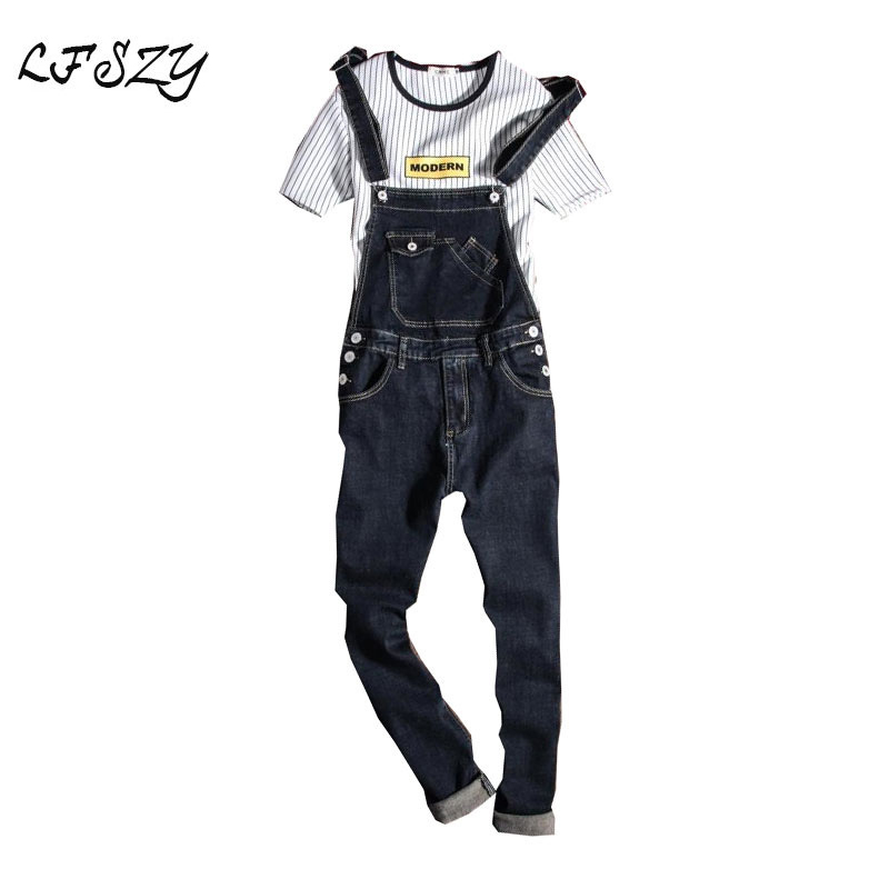New 2019 Fashion Vintage Design Pocket Jeans Denim Overalls Men Casual Wash Skinny Bib Overalls Jeans Male Blue Jumpsuit Jean