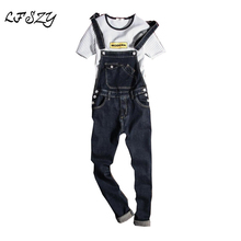 New 2018 Fashion Vintage Design Pocket Jeans Denim Overalls Men Casual Wash Skinny Bib Overalls Jeans Male Blue Jumpsuit Jean цена